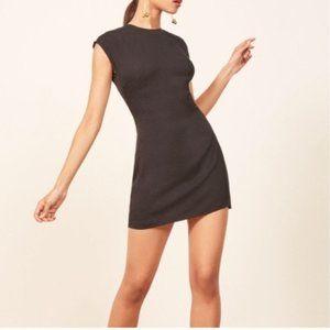 Reformation Lilah Black Keyhole Mini Dress